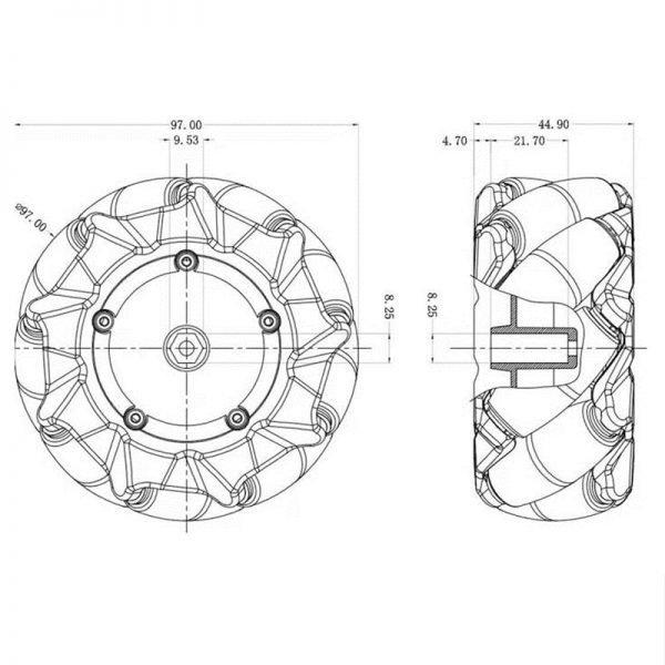80mm or 97mm Mecanum Omnidirectional Plastic Wheel