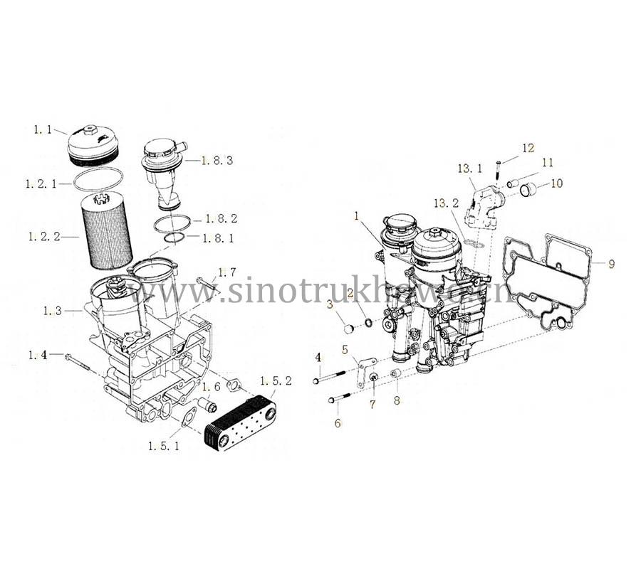 OIL FILTER & COOLER, SITRAK C7H MC11 ENGINE PARTS CATALOG