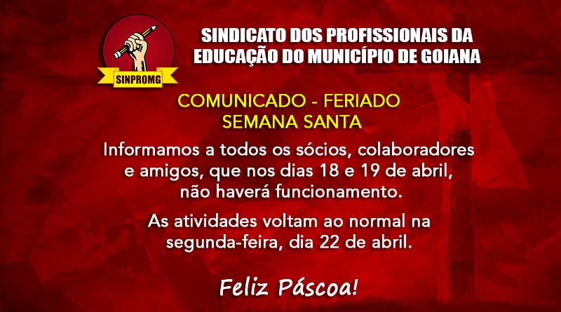 COMUNICADO – FERIADO DA SEMANA SANTA