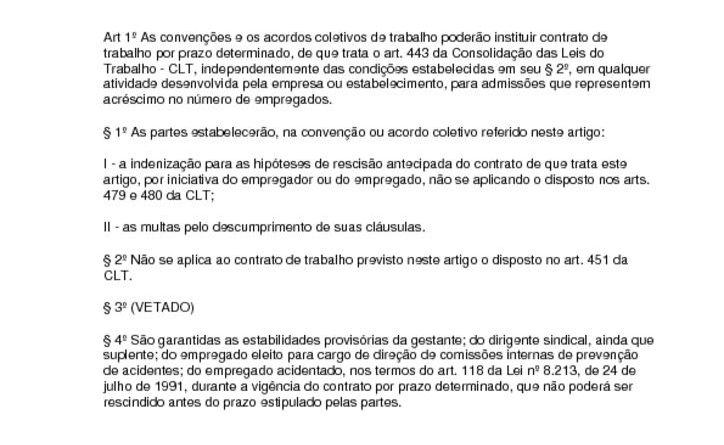 thumbnail of Lei 9601 Contrato Trabalho Prazo Determinado