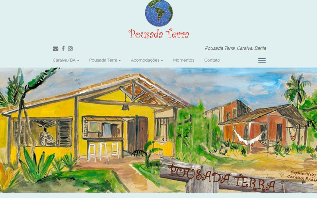 Novo site da Pousada Terra Caraíva