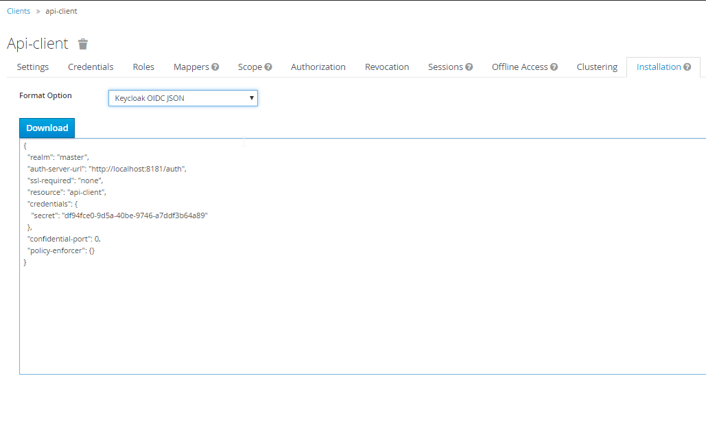 Keycloak, export configurazione del client Oauth2