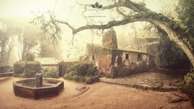 The courtyard of Capuchos Convent, in symbiosis with the environment