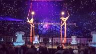 Synchronised aerial silks performance
