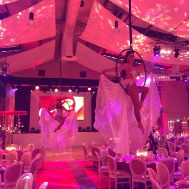 aerial champagne pouring performers wedding