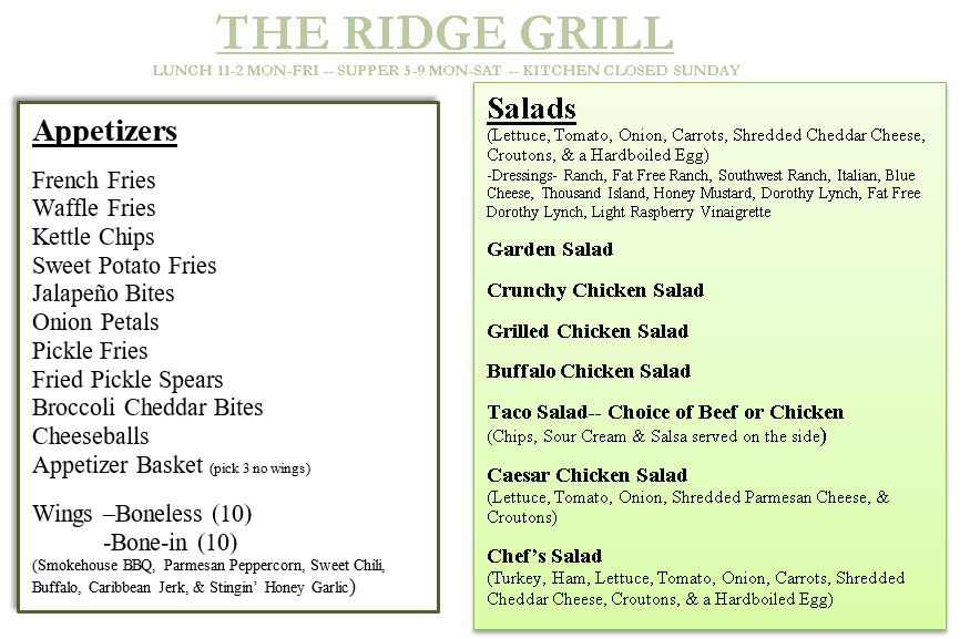 The Grill - The Ridge Golf Club