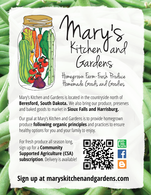 Sioux Falls Graphic Design poster for Mary's Kitchen and Gardens