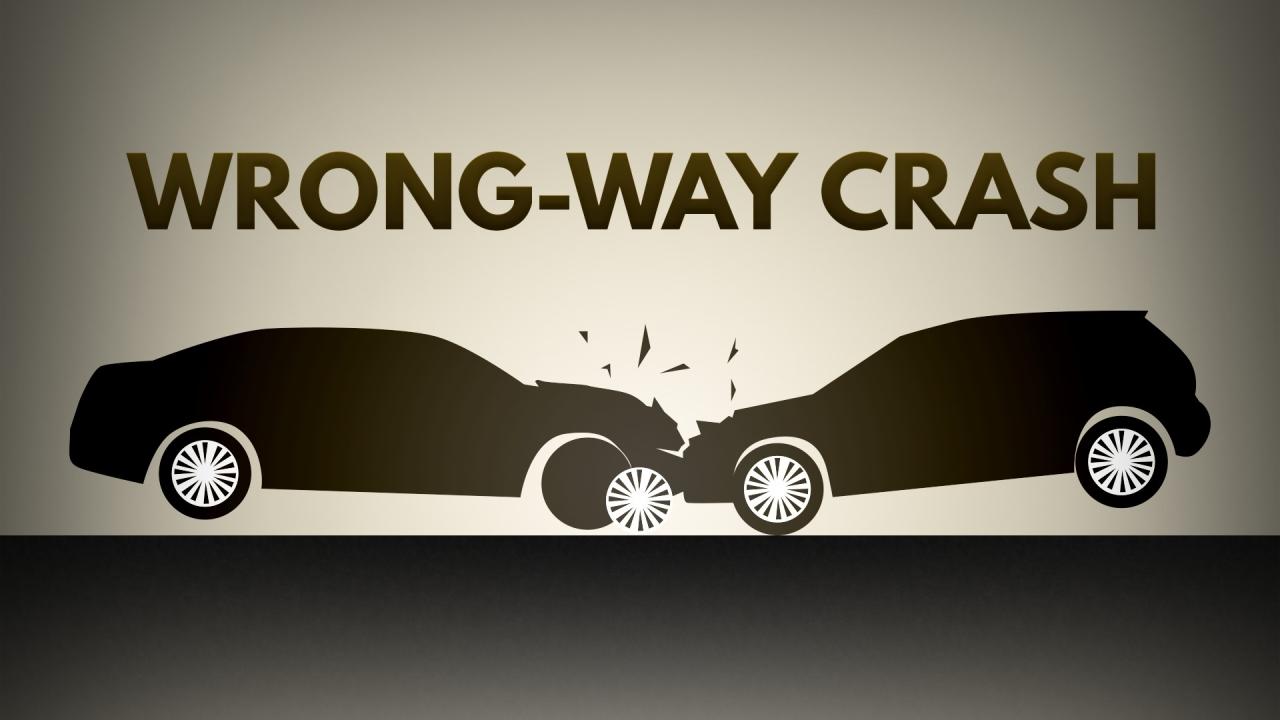 crash, car crash, wrong way, opposite directions