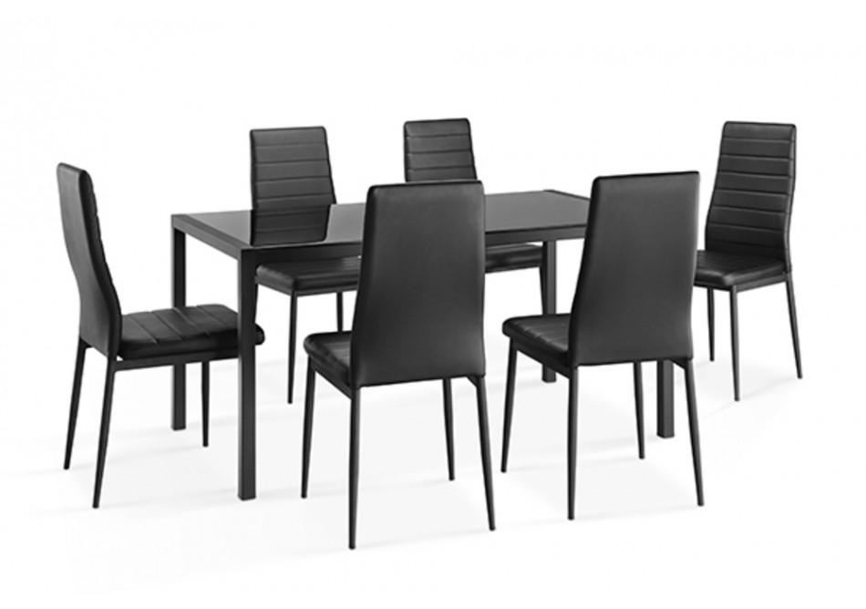 ensemble table 6 chaises chelsea noir