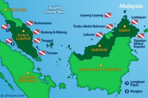 Sipadan Dive Site Map