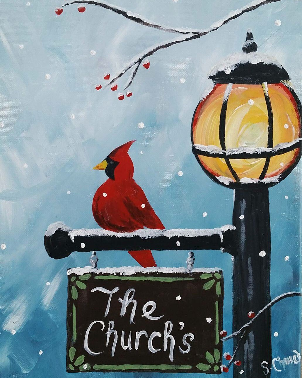 Paint with me online- Cardinal post