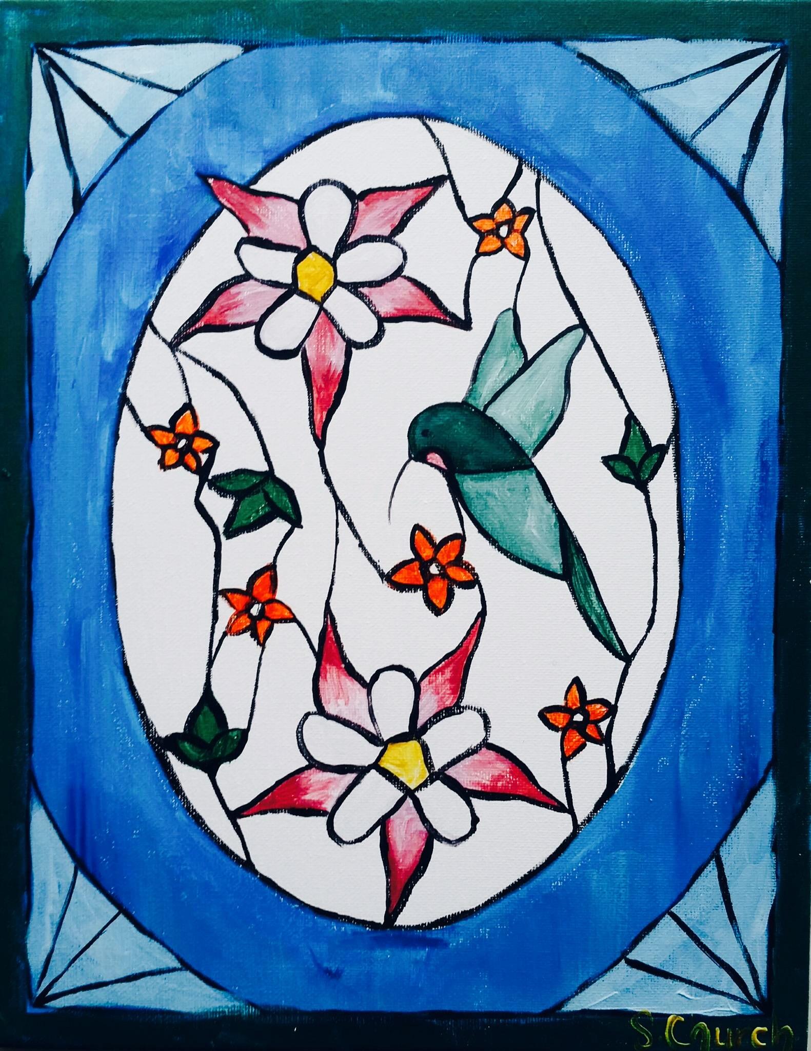 Stain glass Hummingbird