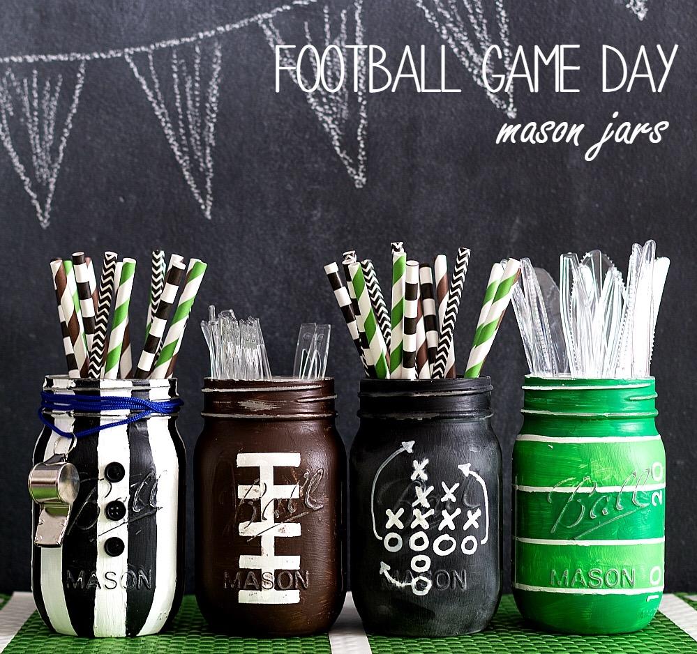 Football Mason Jar Set