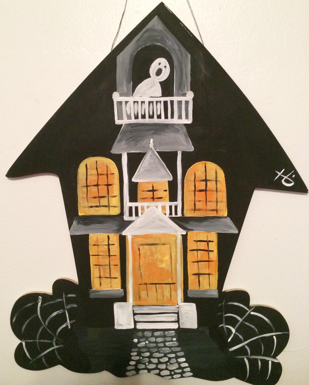 Haunted House Wood Door Hanger