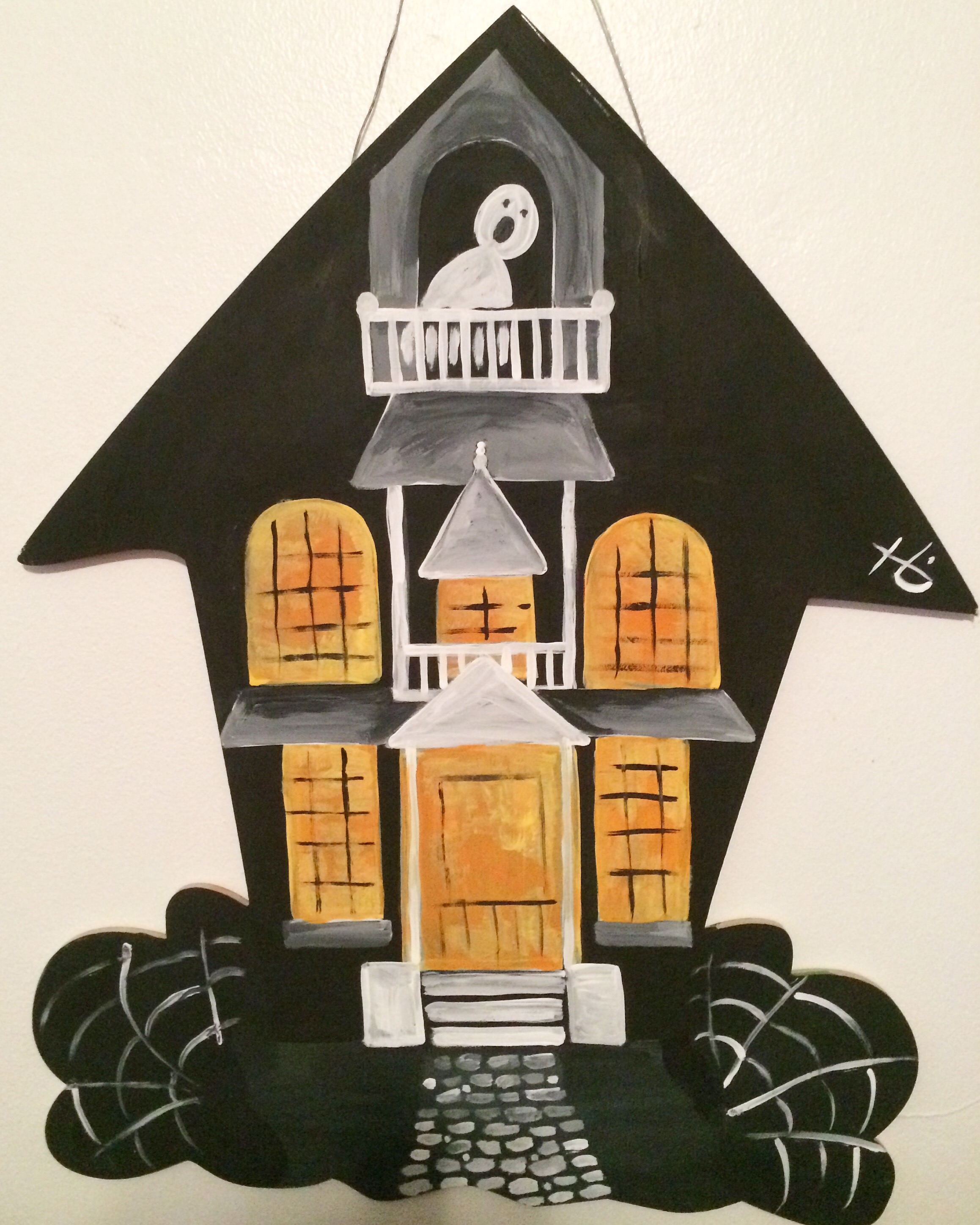 Haunted House Wood Door Hanger