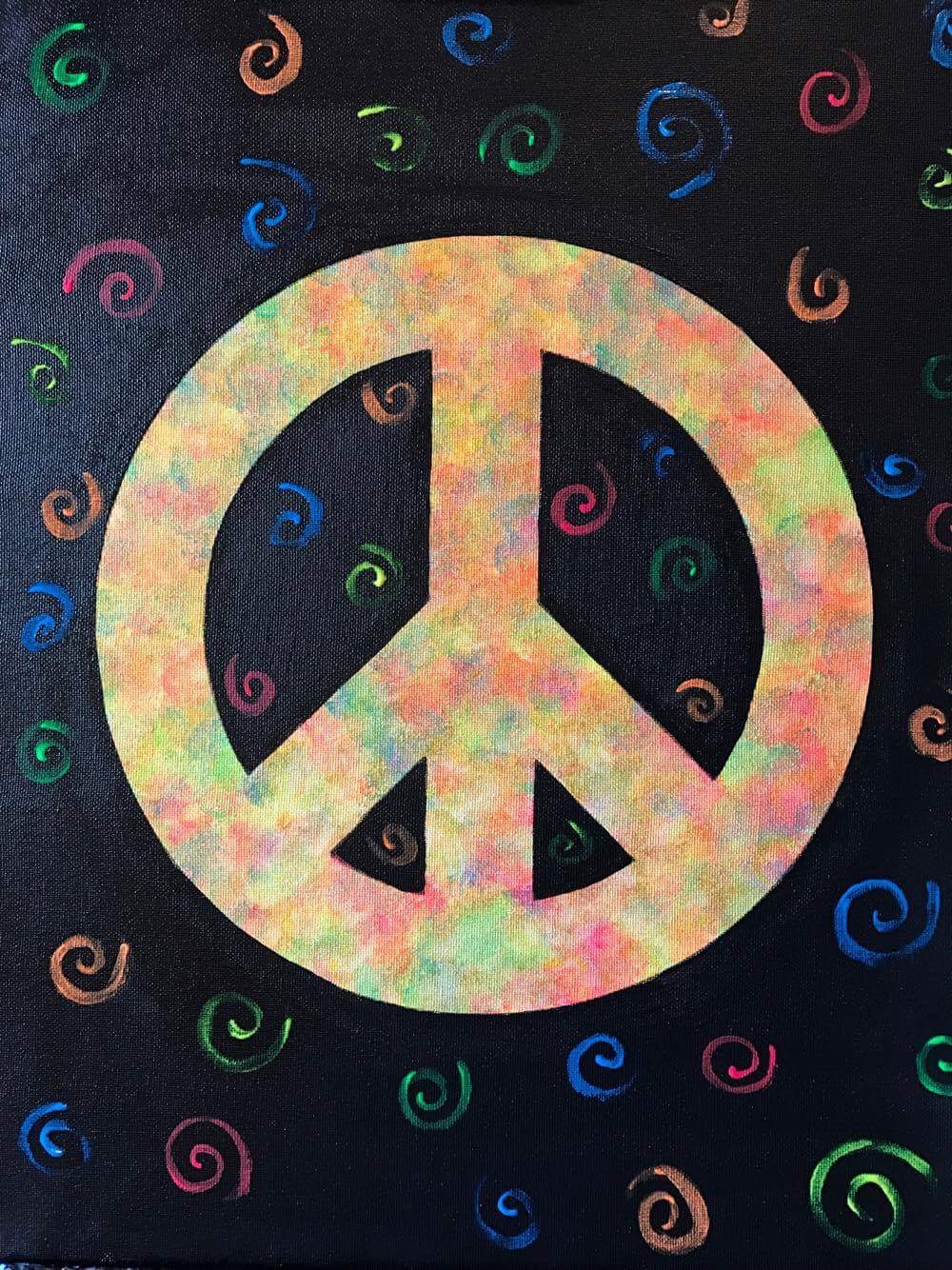 Peace, Love and Paint in the Dark Party!