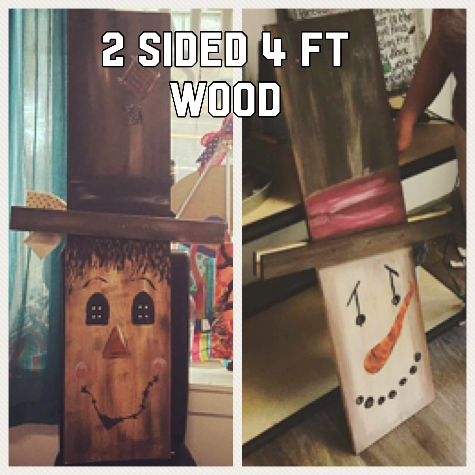 2 sided scarecrow snowman 4ft porch board