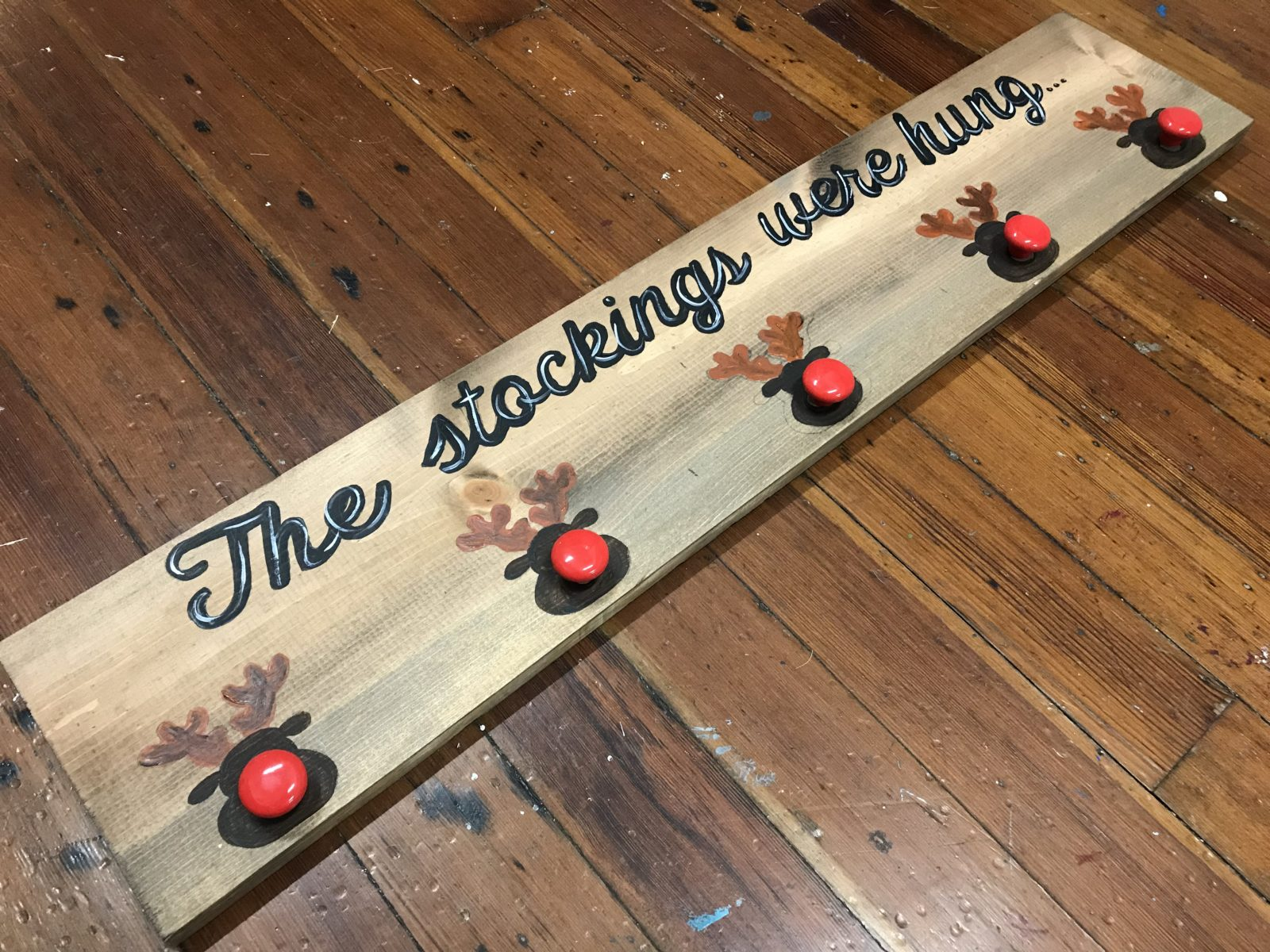 Button Wood Stocking Signs
