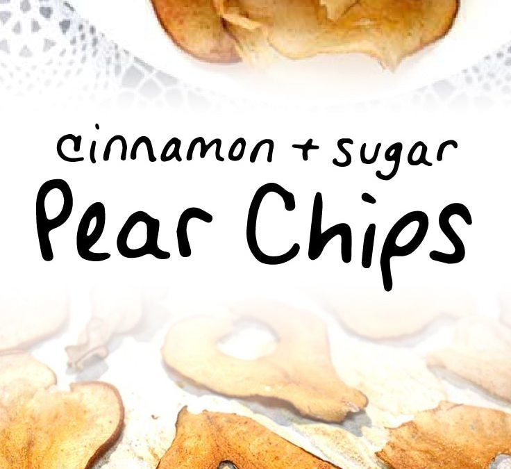 Oven baked cinnamon pear chips