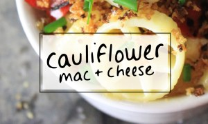 Crunchy cauliflower mac and cheese from scratch is a crowd pleaser! via sipbitego.com #recipe