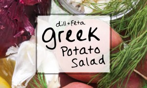 Easy Red potato salad with dill, feta, and NO mayo! Via sipbitego.com
