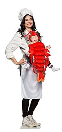 This two-for-one Halloween costume is a chef and baby lobster combo. includes a mom outfit with a hat and apron. The baby is held in a lobster carrier cover ...  sc 1 st  Sip Bite Go & Mom and baby matching Halloween costume ideas | Sip Bite Go ...