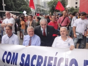 Presidente da Associação dos Deficientes da Policia Militar;  Sr.Inocenti, Presidente do SIPESP; João Rebouças.