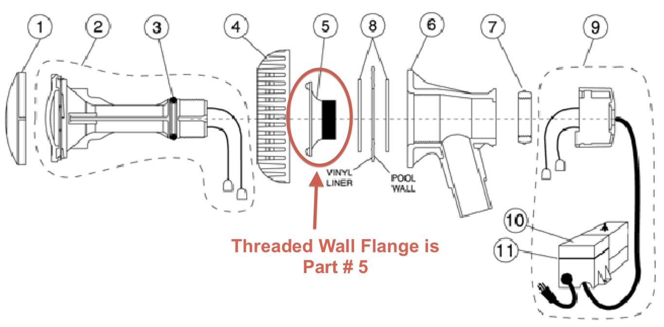 Aqualuminator Threaded Wall Flange Replacement Part
