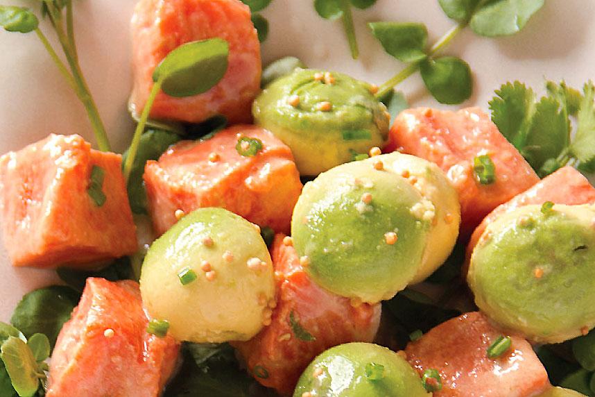 Marinated Wild Alaskan Salmon and Avocado Salad with Watercress