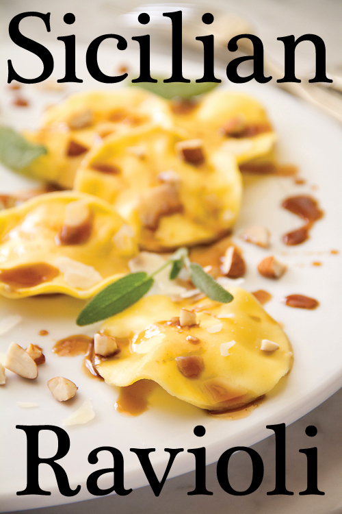 Sicilian Ravioli with Almonds and Balsamic