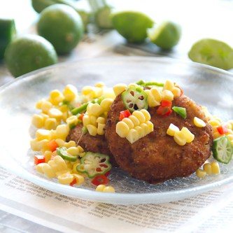 Blue Crab Cakes with Raw Corn, Okra and Key Lime Succotash