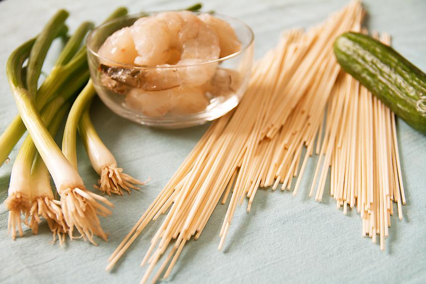 udon-wrapped shrimp