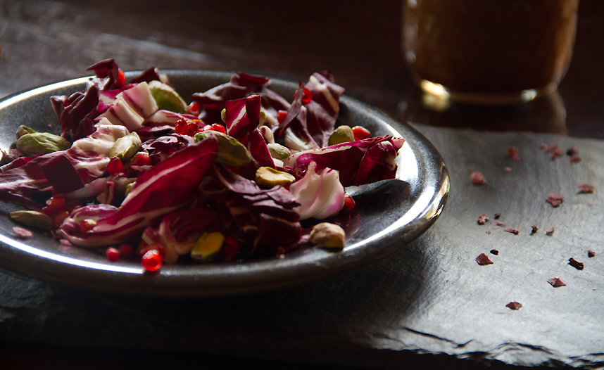 Red Salad with Radicchio and Pomegranate Chili Vinaigrette