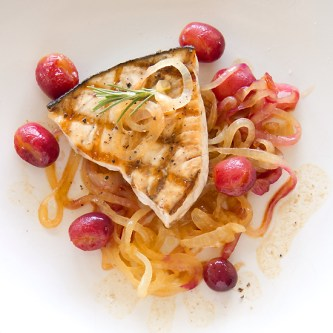 grilled swordfish with grapes and sweet onions