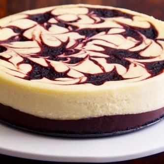 Black Bottom Cheese Cake with Chocolate and Cherry