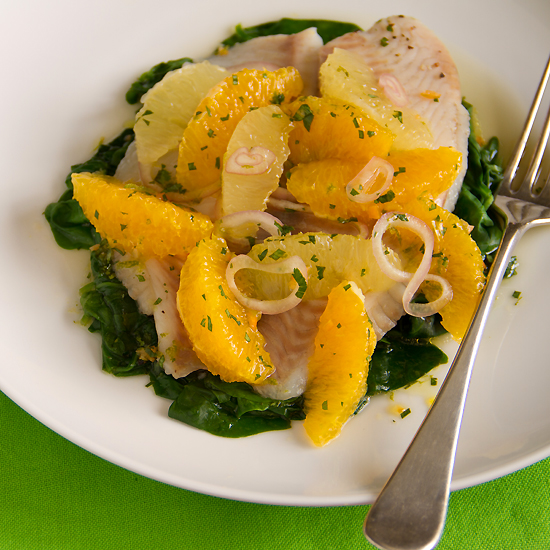 Steamed Tilapia with Citrus Salsa and Spinach