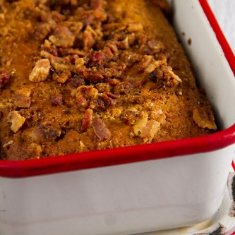 Brown Sugar Corn Bread with Bacon Crumble