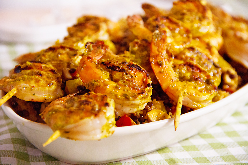 Grilled Curried Shrimp with Lentils, Quinoa and Apple