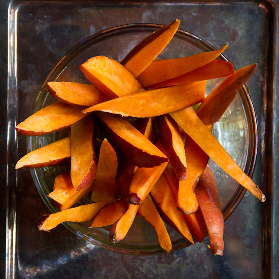 raw sweet potato wedges