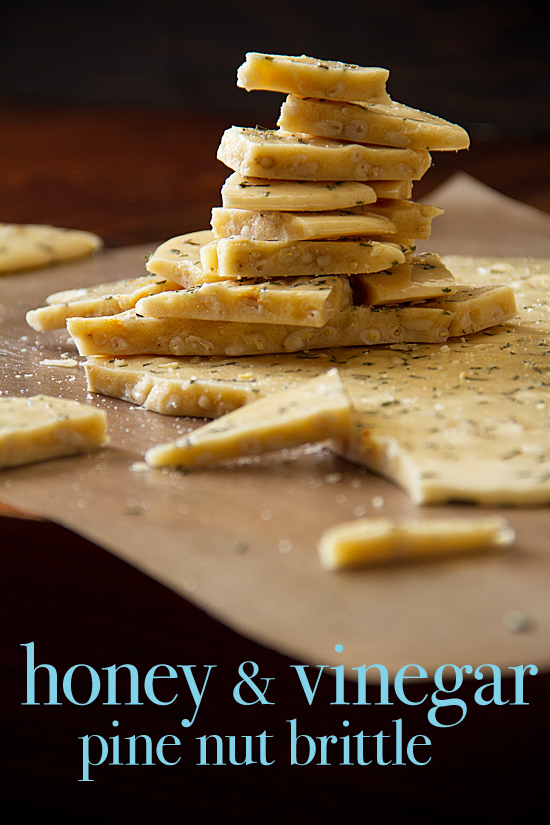 Honey and Vinegar Pine Nut Brittle with Rosemary