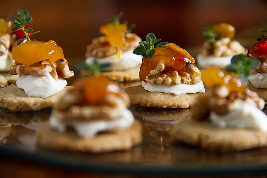 Blue Cheese-Walnut Shortbread with Cream Cheese & Chutney for a dinner party