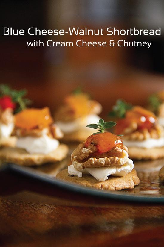 Blue Cheese-Walnut Shortbread with Chutney