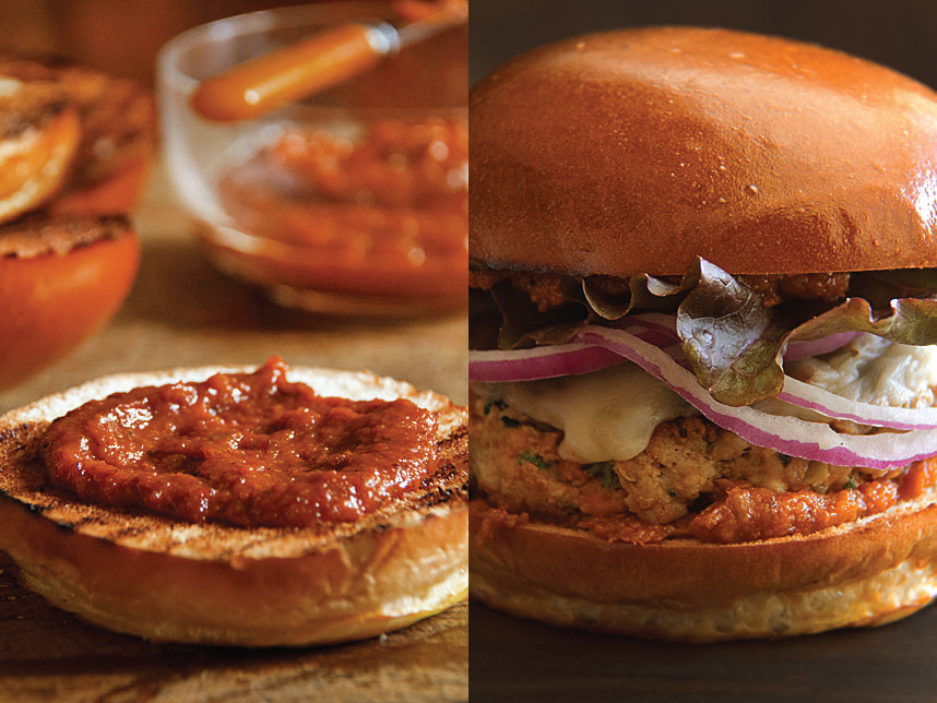 Chorizo Burgers with Slow-Cooked Tomato-Bacon Ketchup