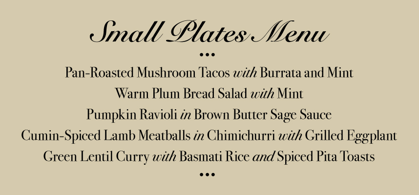 Hilliard Bruce Small Plates Menu