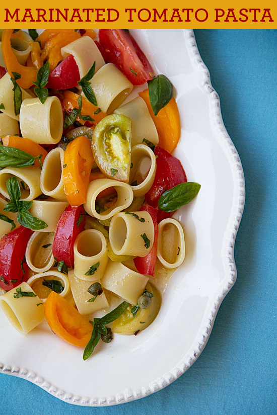 Pasta with Marinated Tomatoes and Fried Garlic