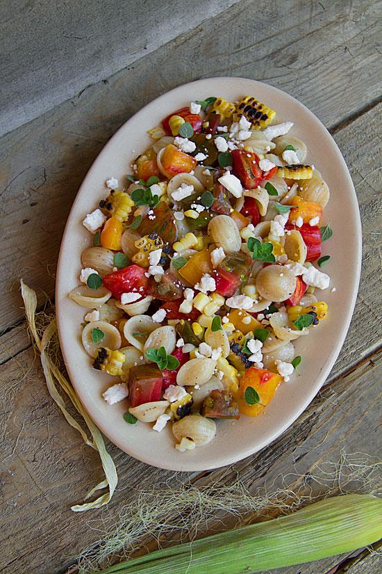 Fresh Tomato and Charred Corn Pasta Salad with Red Wine-Oregano Vinaigrette