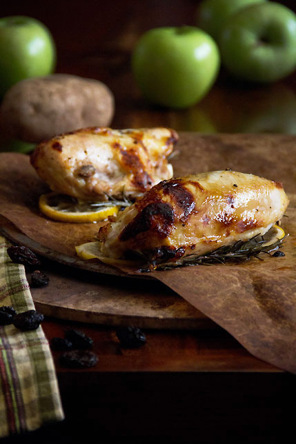 Roast Chicken Breasts with potatoes and apples