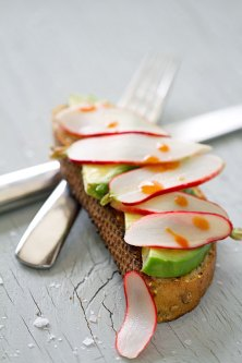 Avocado Toast with Pickled Radishes and Hot Sauce