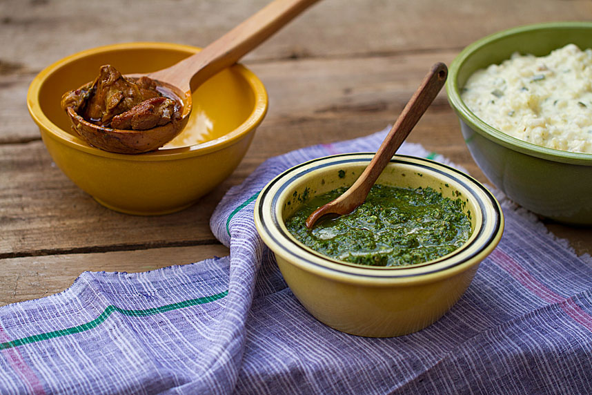 Stewed Pork with Creamed Hominy and Salsa Verde