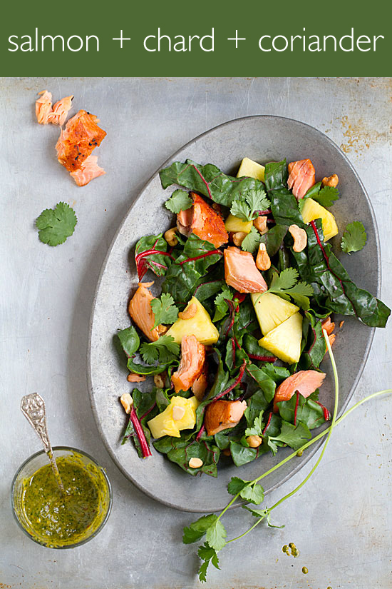 Stove Top Smoked Salmon Salad with Swiss Chard